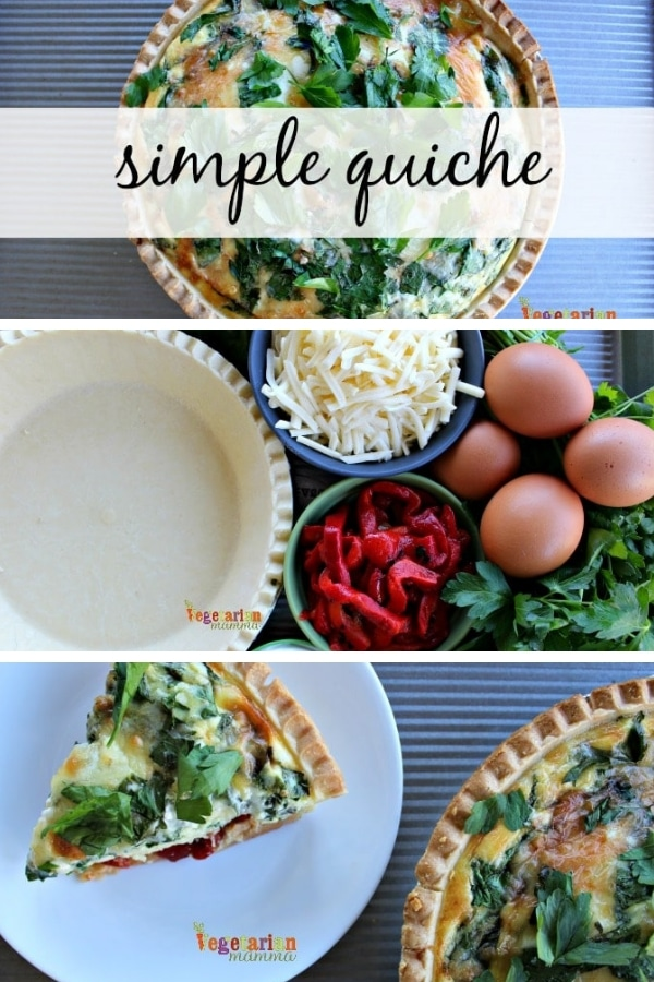 While this quiche qualifies as a simple quiche, it is a stunning addition to your Sunday brunch. This red pepper quiche is beautiful and full of flavor! #quiche