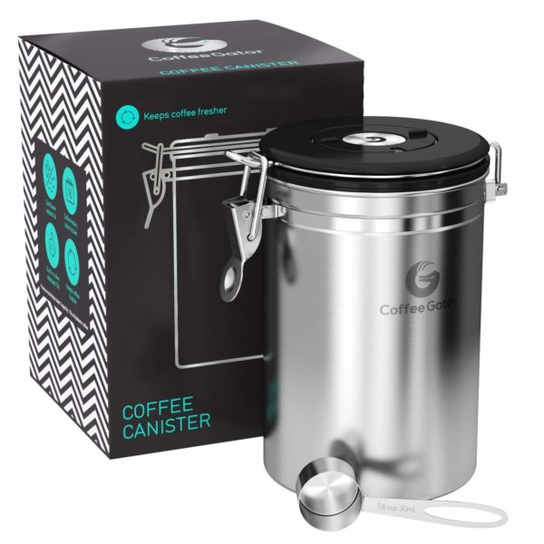 Coffee Gator Stainless Steel Container - Canister with co2 Valve and Scoop