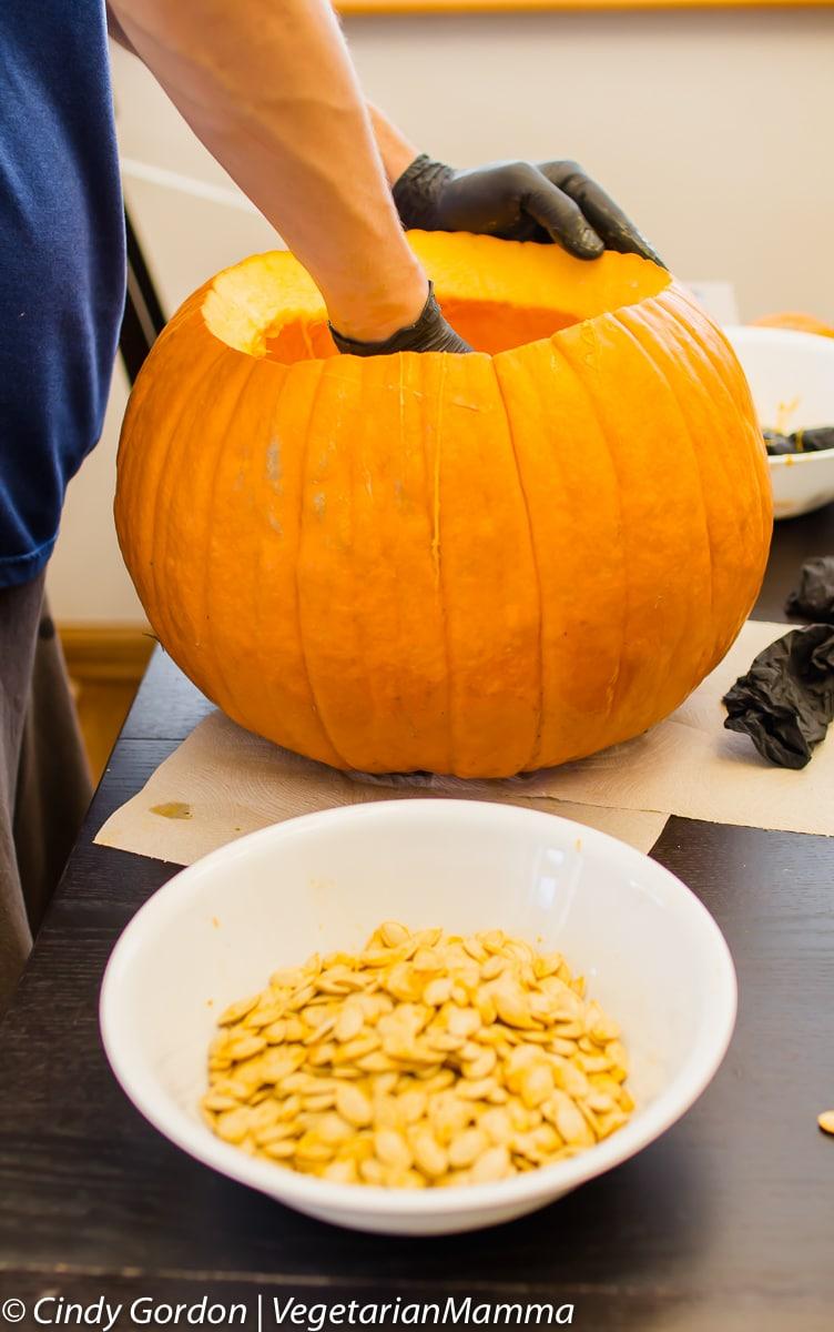 Air Fryer Pumpkin Seeds - removing seeds from pumpkin