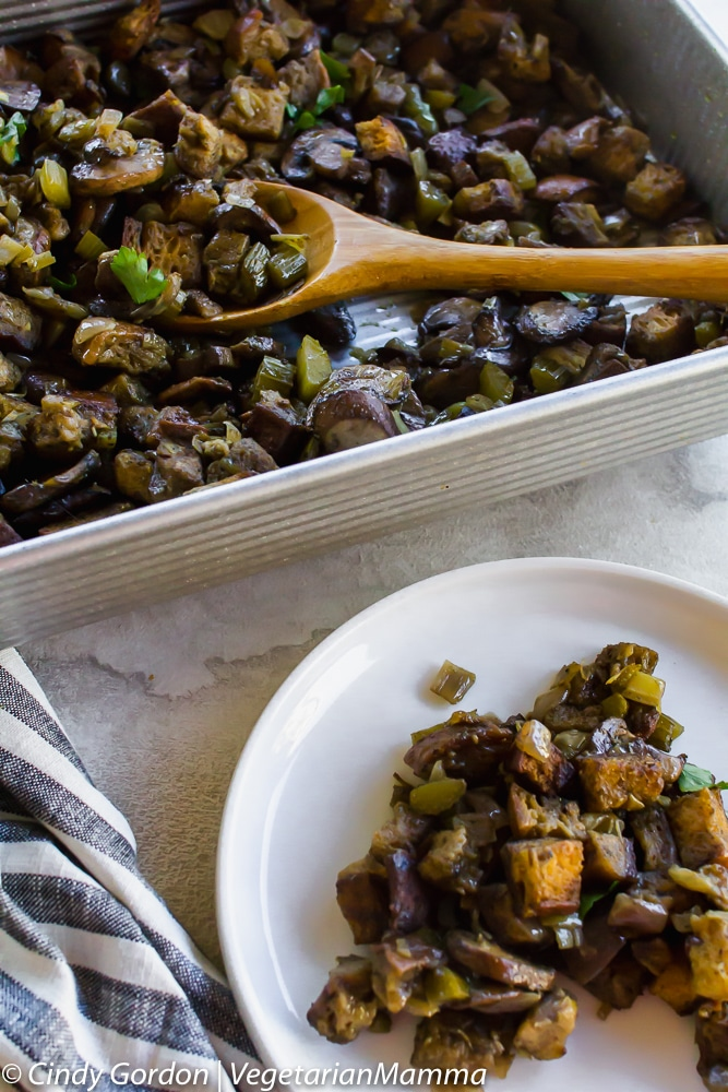 Gluten-Free Mushroom Stuffing is a delicious vegetarian side dish for your holiday table.