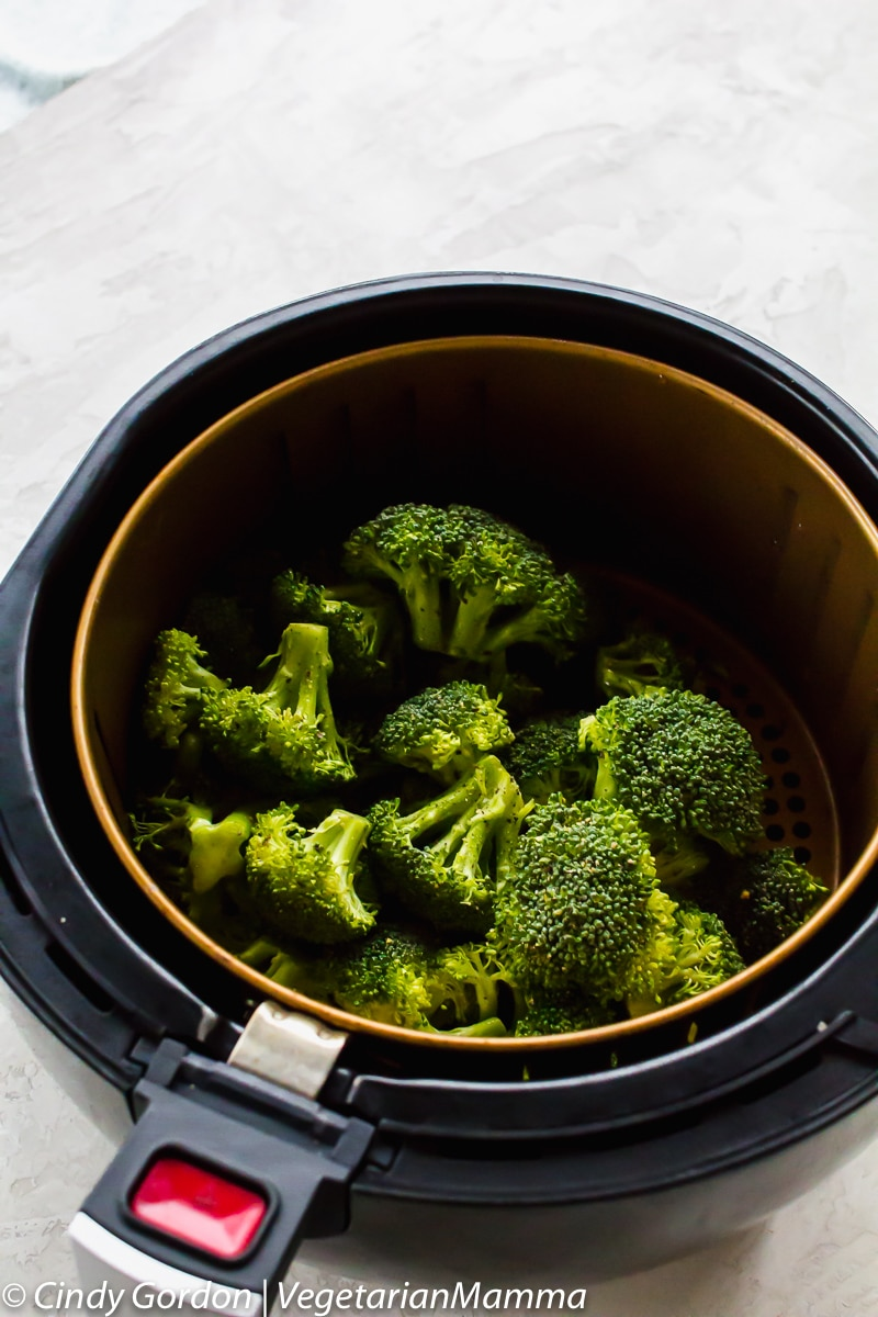 Air Fryer Broccoli in air fryer basket