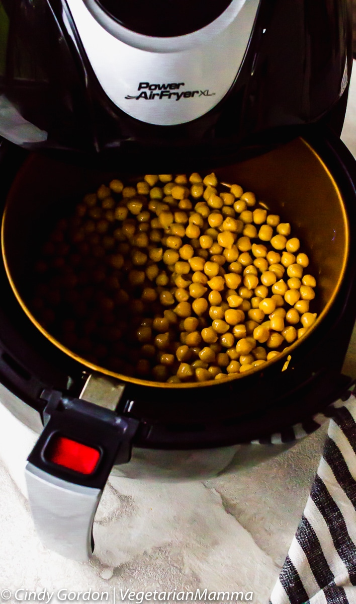 Air Fryer Chickpeas in an air fryer basket