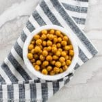 Air Fryer Chickpeas - air fried snacks in a white bowl