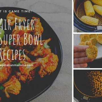 Text reading Air Fryer Super Bowl Recipes with collage of images showing recipe