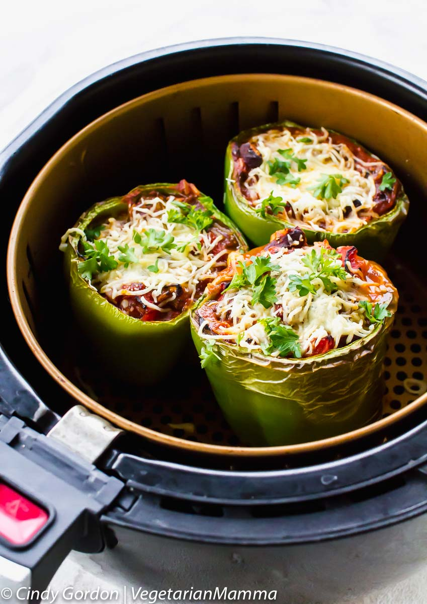 Air Fryer Stuffed Peppers (Vegetarian) pictured in basket
