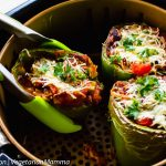 Air Fryer Stuffed Peppers (Vegetarian) with tongs