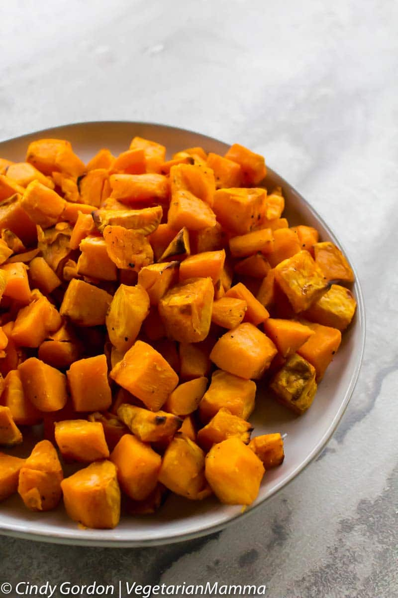 bowl of air fryer sweet potatoes