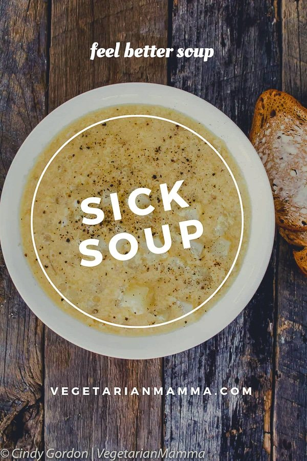 Sick Soup or feel better soup in a white bowl