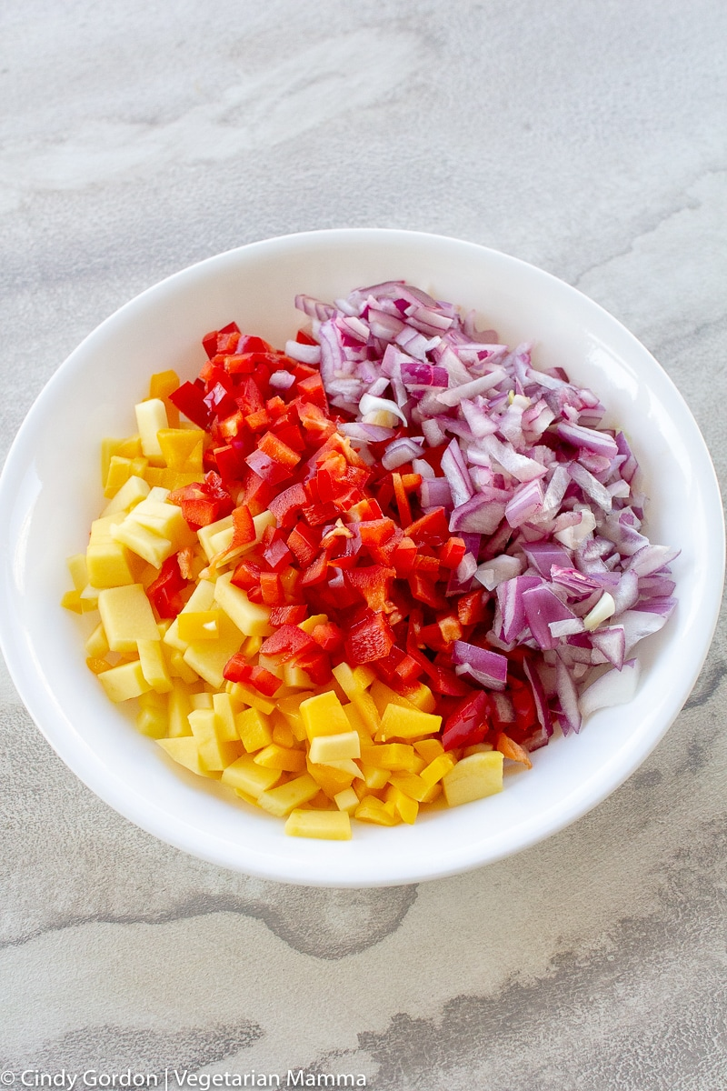 Colorful mango salsa in white bowl
