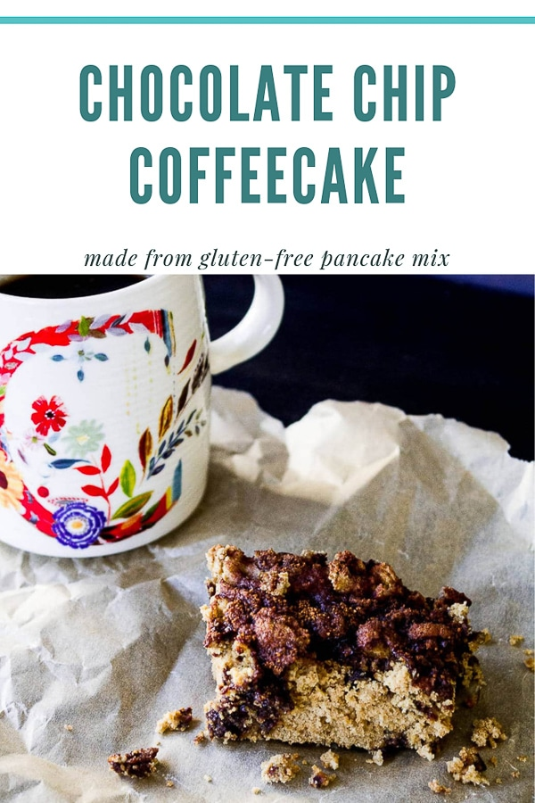 Gluten Free Chocolate Chip Coffeecake in the shape of a square