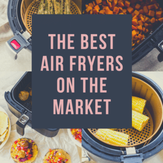 Pinterest graphic with a collage of air fryer basket pictures