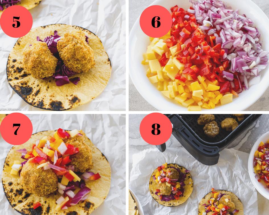 Air Fryer Cauliflower Tacos Steps 5-8 collage