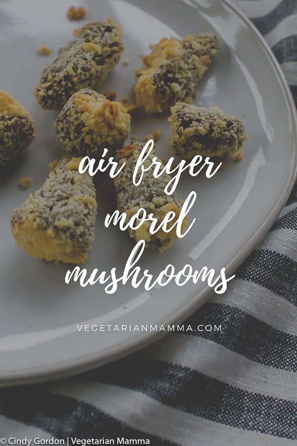 Air Fryer Morel Mushrooms on a white plate