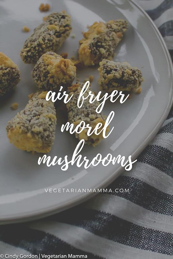 Air Fryer Morel Mushrooms on a white plate