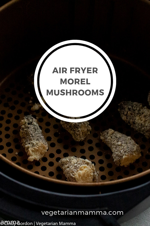 Air Fryer Morel Mushrooms pin with text overlay in a white circle with grey words