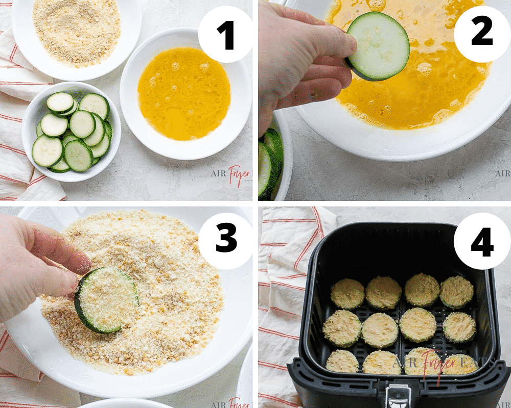 photo collage of four steps needed to make air fryer zucchini