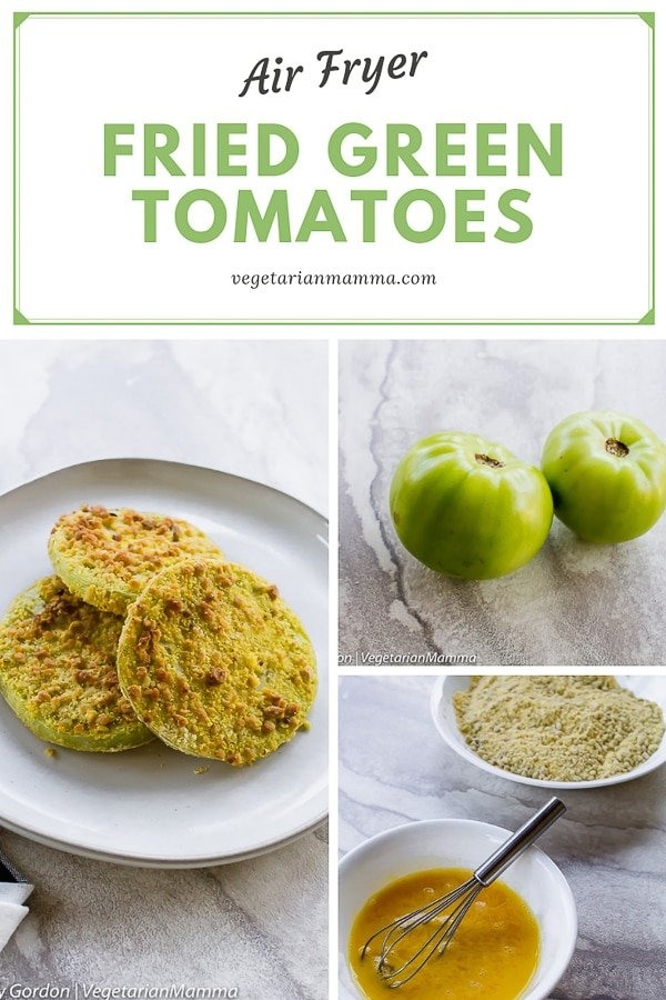 air fryer green tomatoes stacked in a set of three