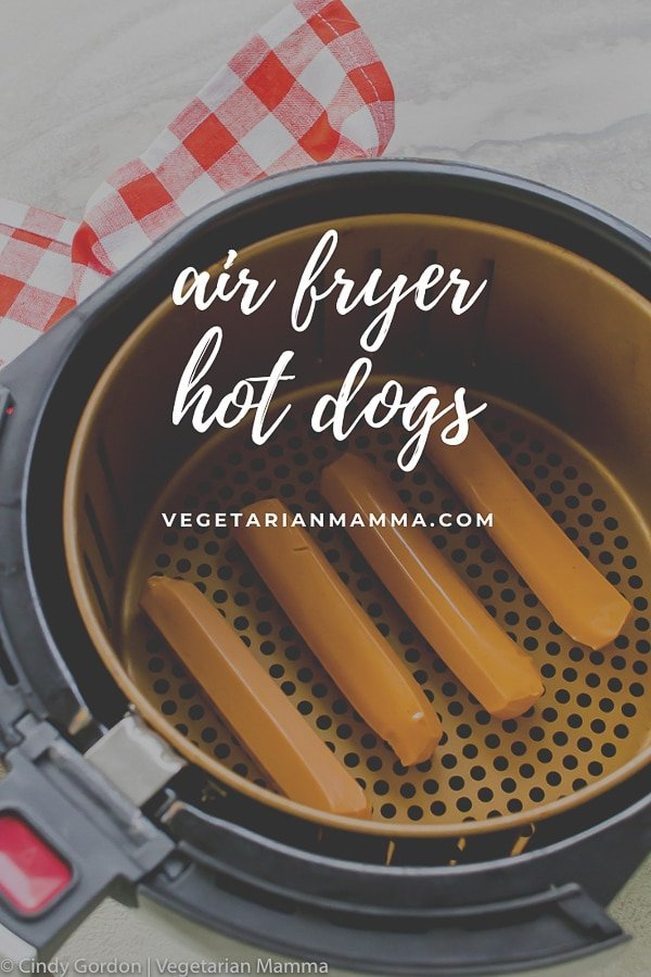 Air Fryer Hot Dog pin with text over lay