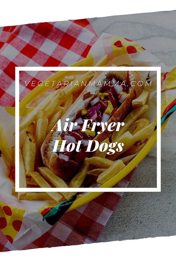 Air Fryer Hot Dog decorative pin with text overlay