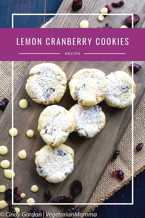 Lemon cranberry cookies pin with text over lay