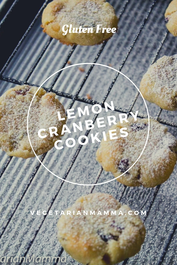 lemon cranberry cookies on a cooling rack