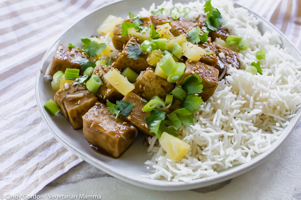 pineapple ginger tofu chunks with extra pineapple