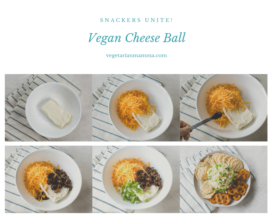 step by step of how to make a vegan cheese ball pictures
