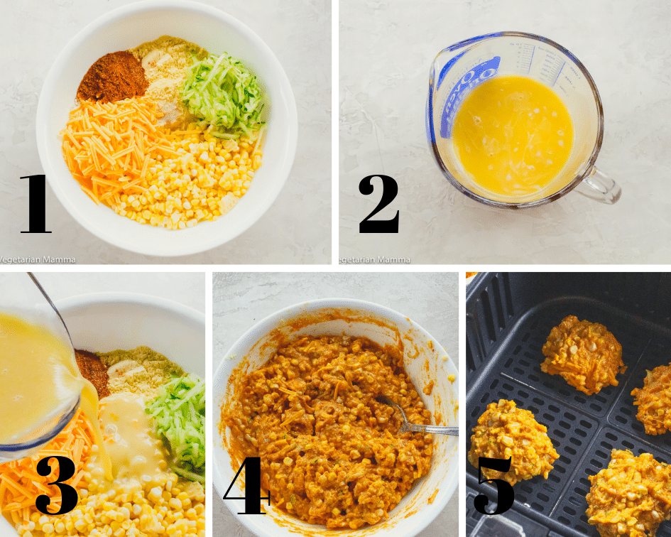 collage of pictures showing a step by step of how to make zucchini fritters