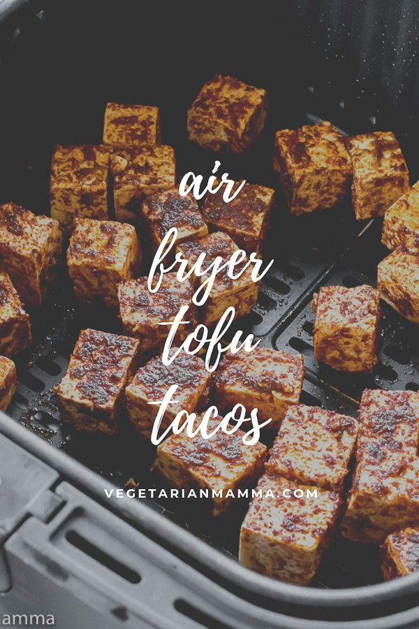 air fryer tofu tacos with tofu meat in the air fryer basket