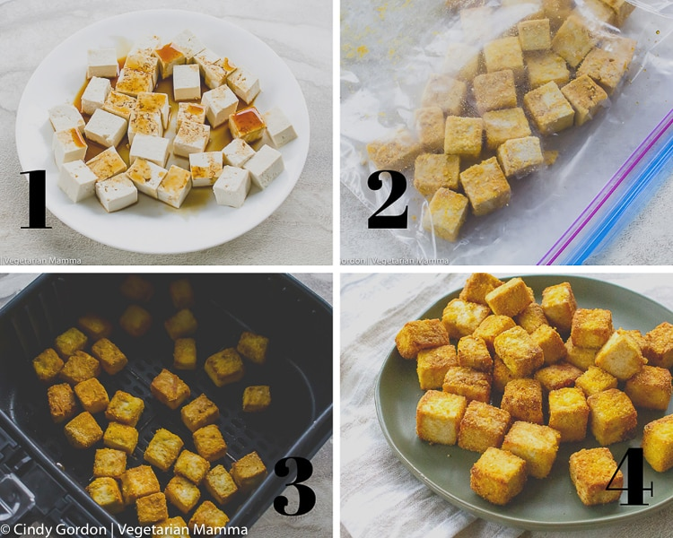 picture collage of 4 pictures showing the step to make crispy tofu