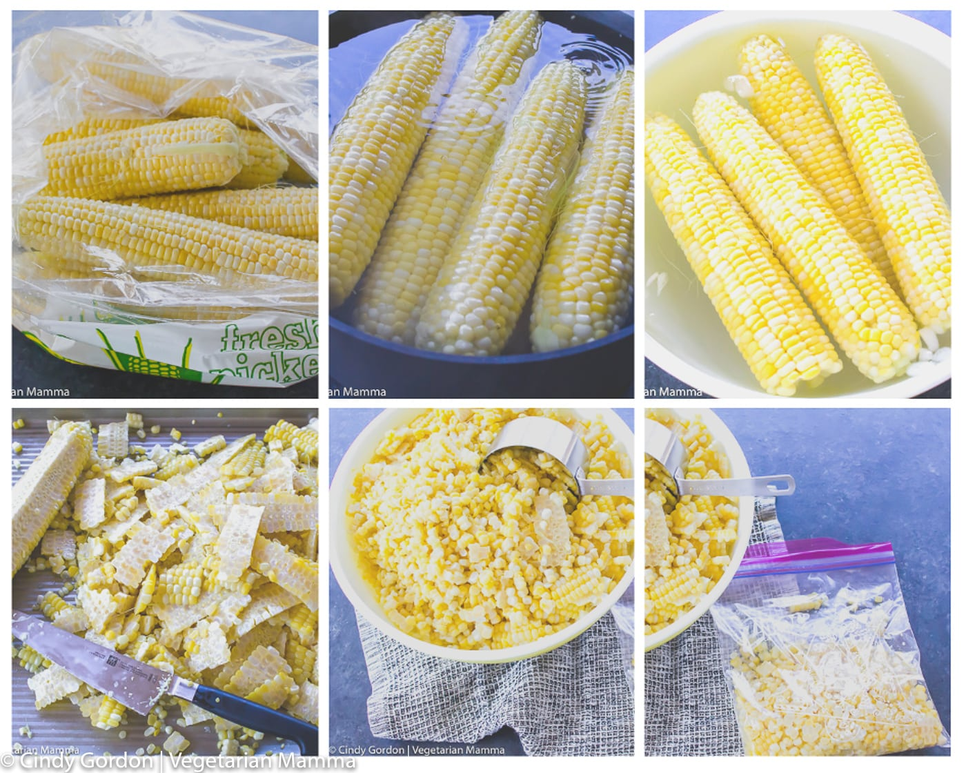 collage of pictures showcasing how to freeze corn on the cob