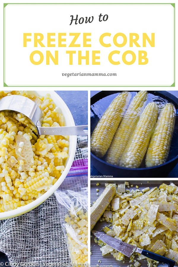 pin collage of how to freeze corn on the cob