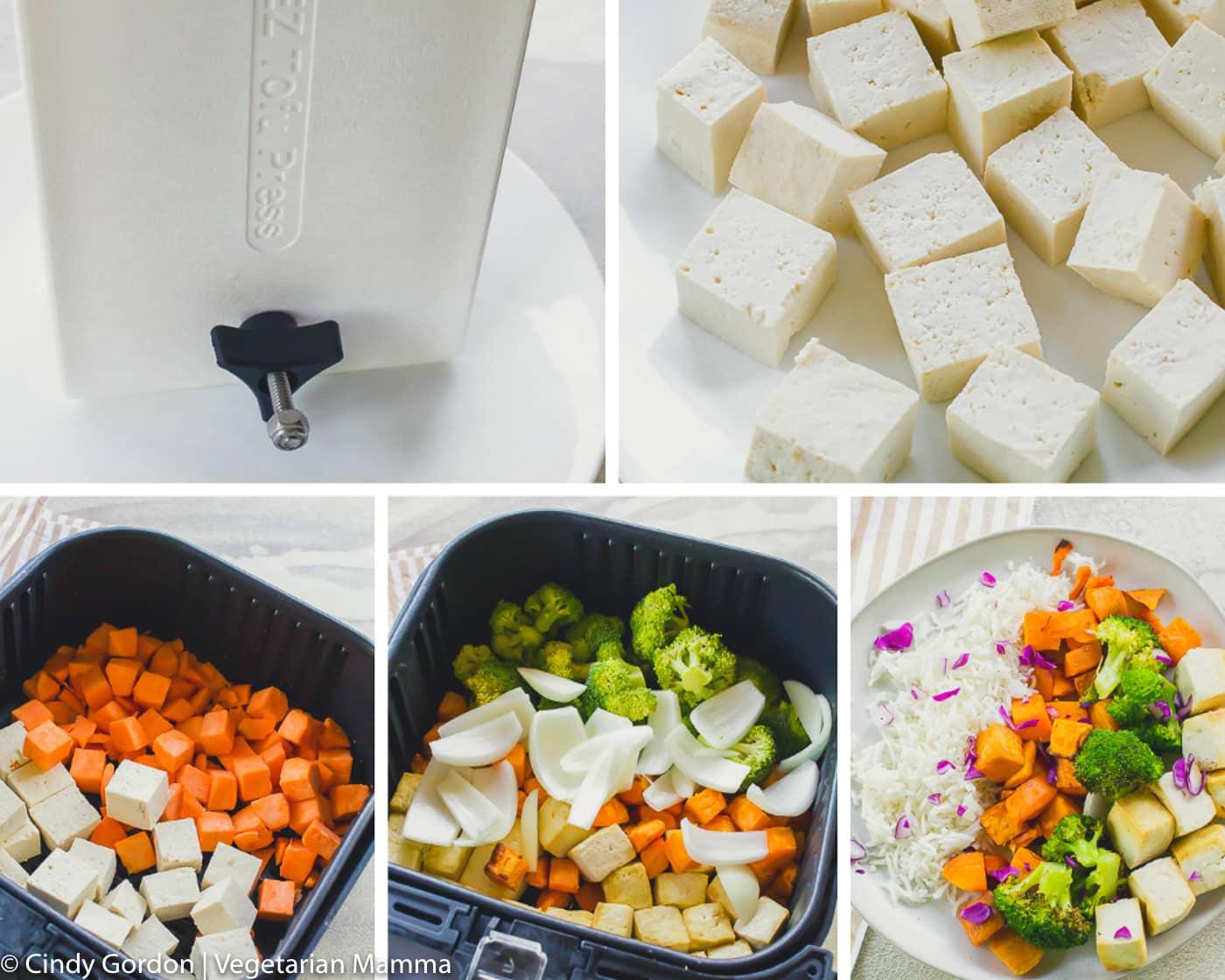 Collage of inprocess shots to make sweet potato bowls