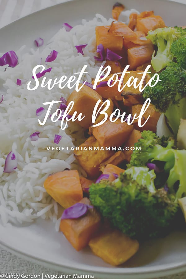 Sweet Potato Tofu Bowl with text overlay for a pin