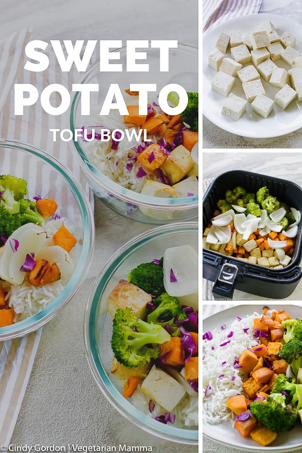 Sweet Potato Tofu Bowl in process shots made into a collage