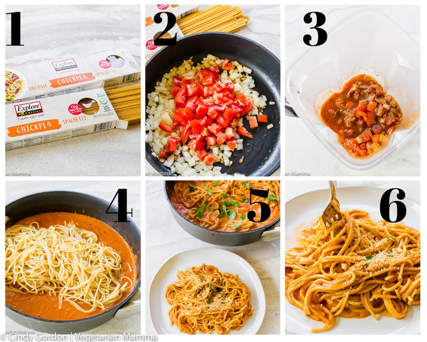 Vegetarian spaghetti sauce collage of step by step directions