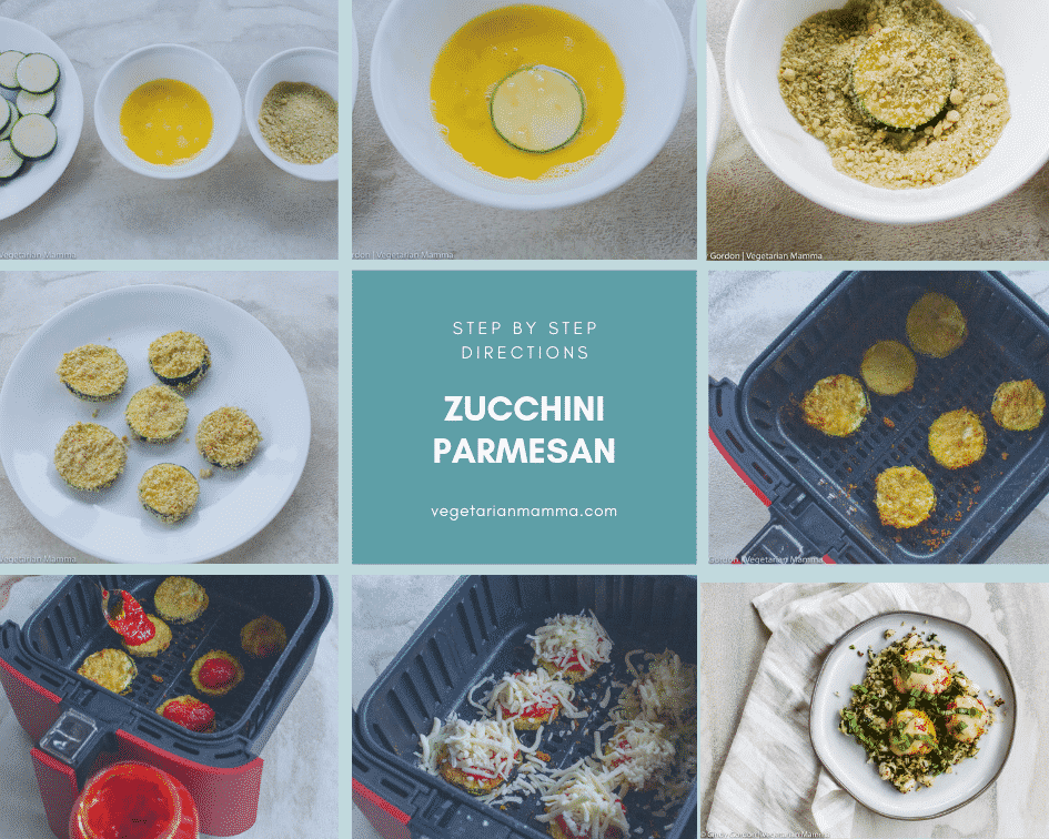 zucchini parmesan picture collage of steps