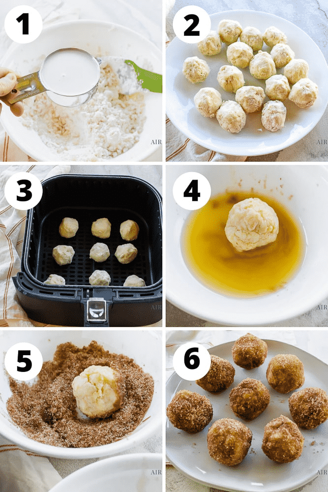 photo collage of six steps to make air fryer donut holes