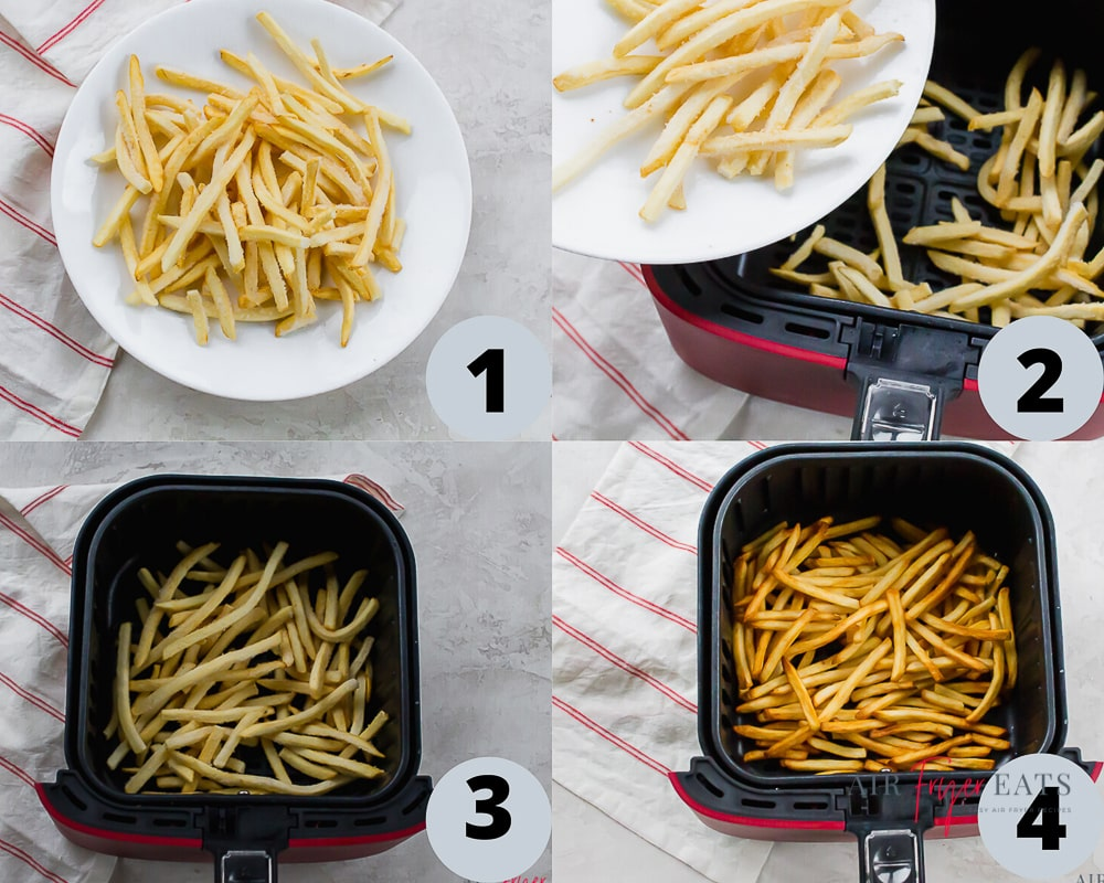 4 picture collage showing how to make frozen air fryer french fries