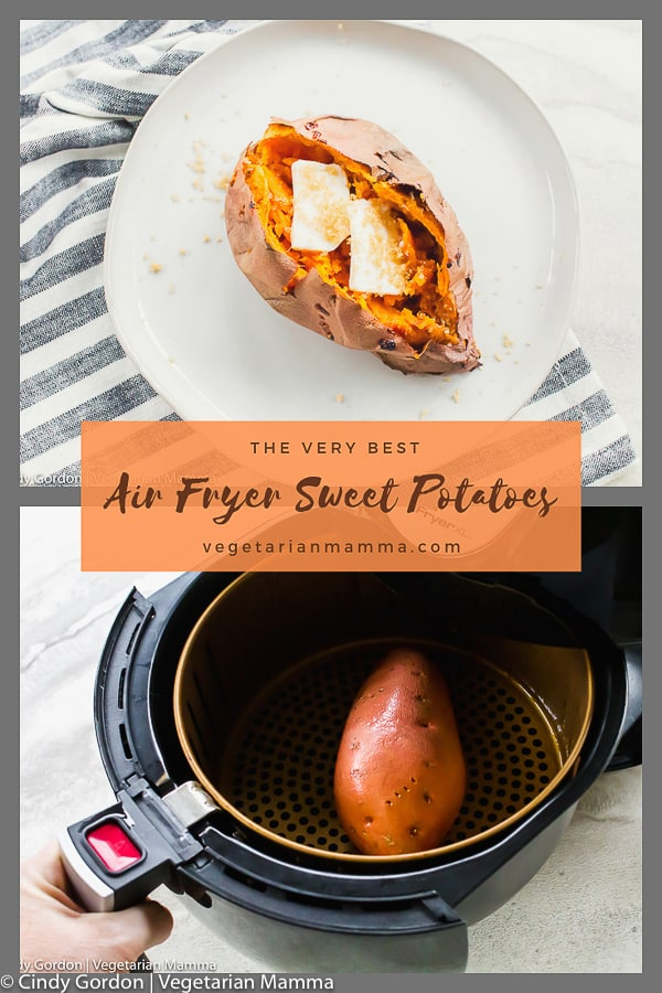 picture of cooked air fryer sweet potato and one in the air fryer basket