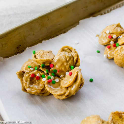 Cornflake cookies overhead shot with christmas sprinkles on top