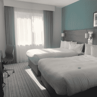 Overall shot of hotel room