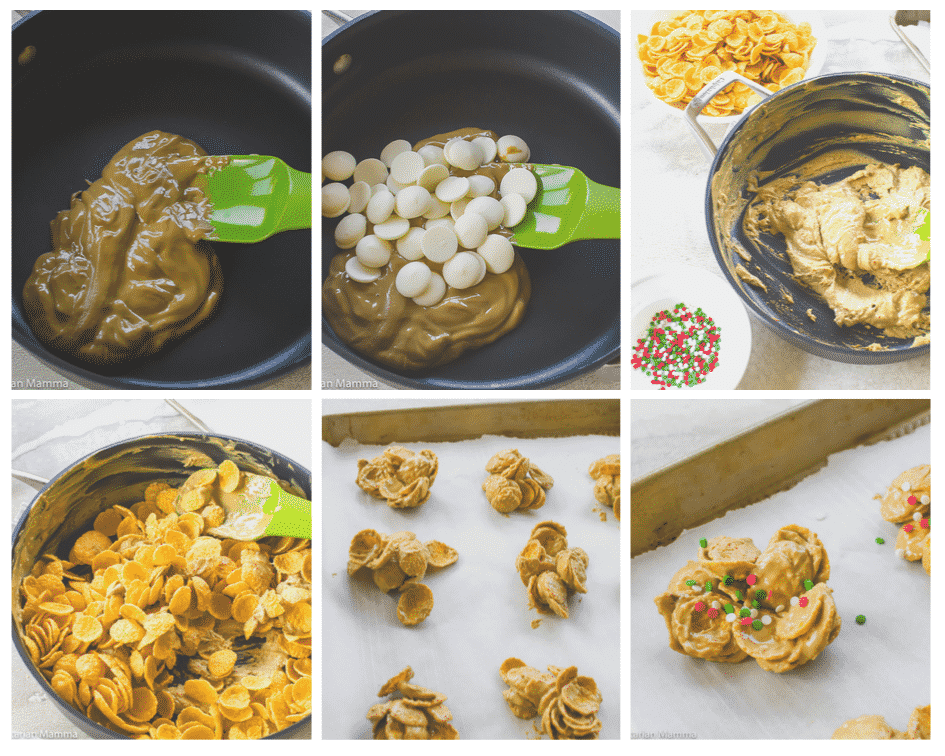 Picture collage of step by step directions for making cornflake cookies