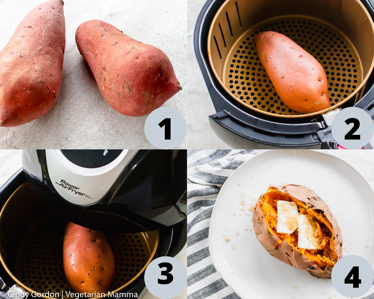 4 pictures in a collage showing a visual step by step process of making air fryer sweet potatoes