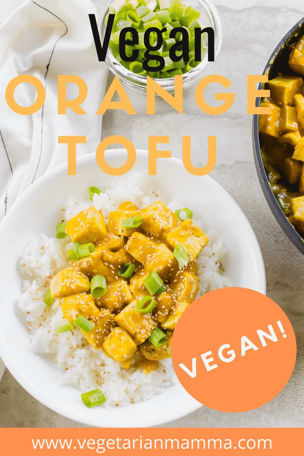 Orange Tofu is a delicious and easy tofu recipe that your entire family will love! This crispy orange tofu recipe is flavored with fresh squeezed orange juice, soy sauce, and served over rice. #orangetofu #orangechicken #veganorangechicken