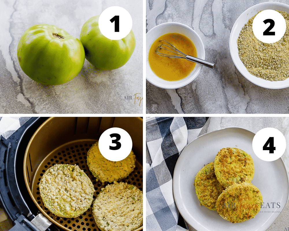 photo collage of four steps to make fried green tomatoes