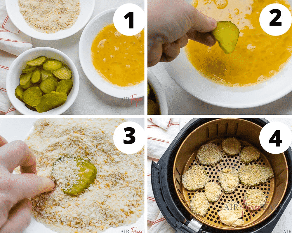 photo collage of four steps to make air fryer pickles