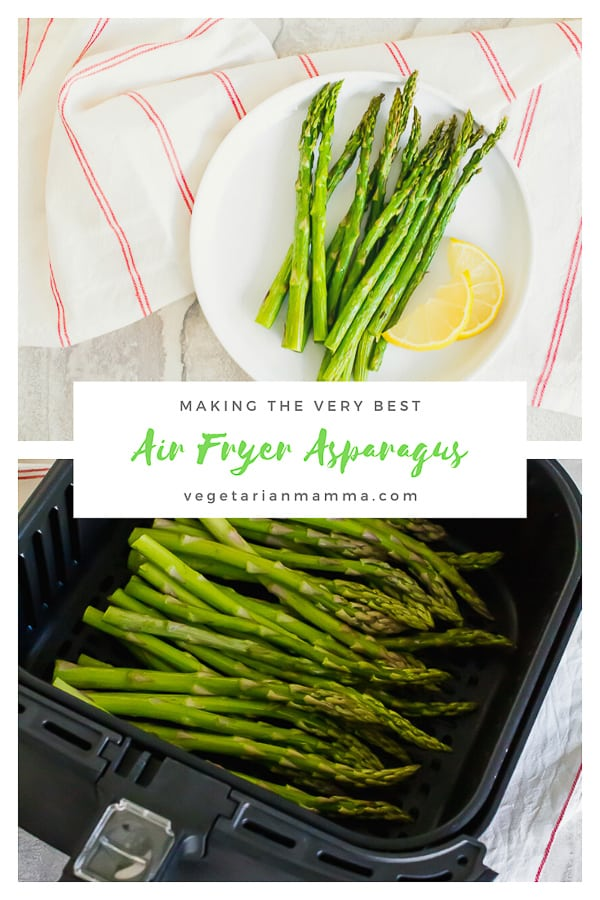 Air Fryer Asparagus is a low carb and keto friendly option for your family. This easy to make air fryer recipe will be a colorful side dish addition to your next meal. #airfryerrecipes #airfryerasparagus
