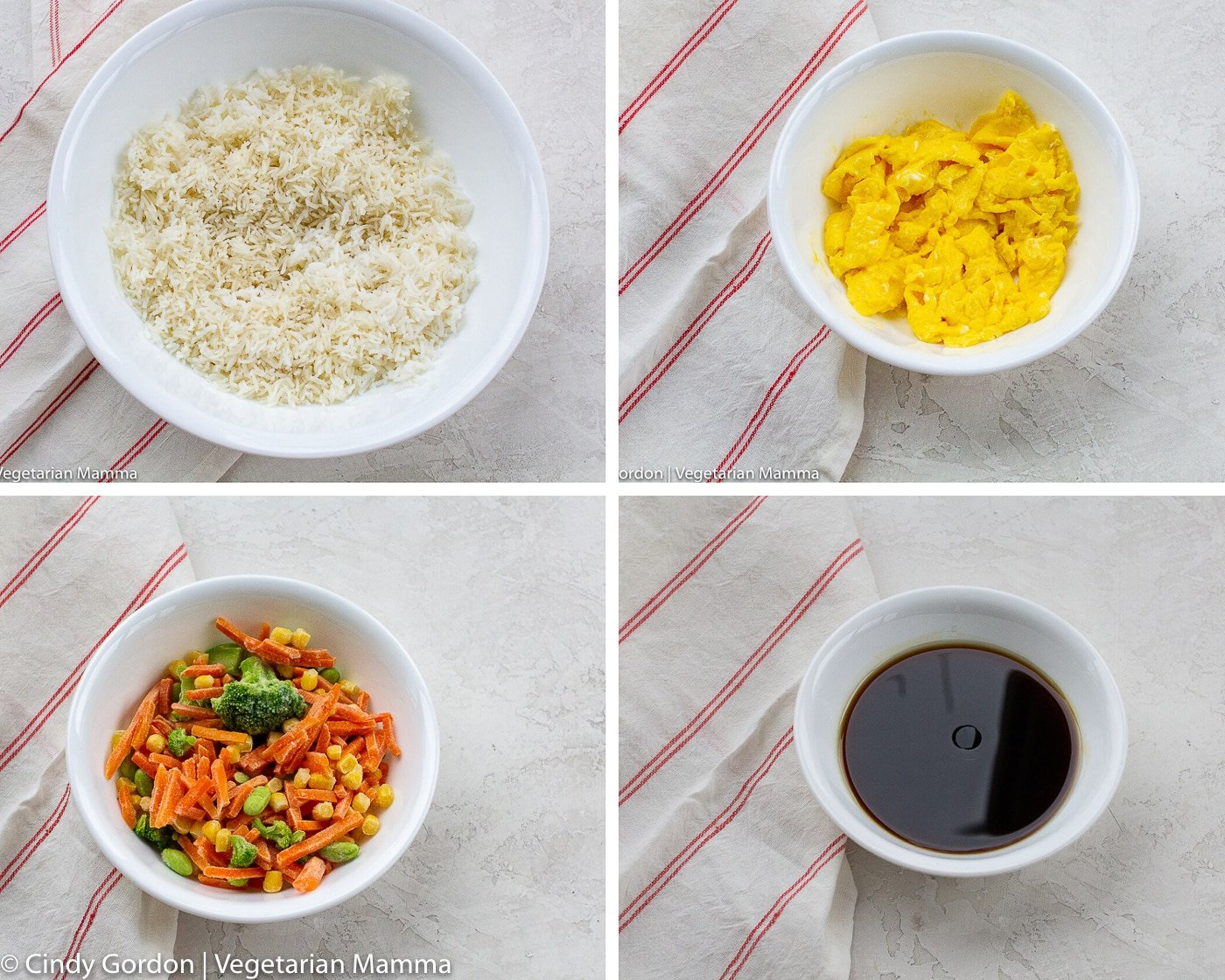 picture collage of the ingredients for air fryer fried rice