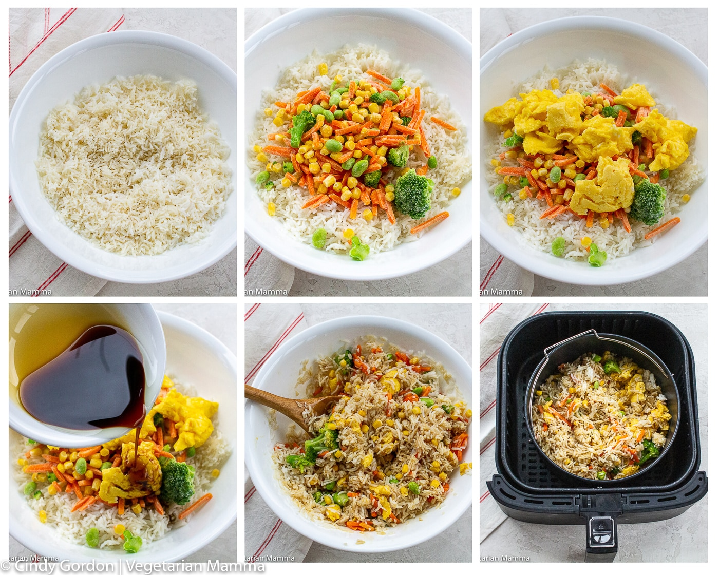 picture collage of 6 pictures that show the 6 steps of making air fryer fried rice